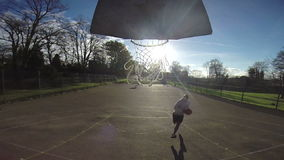 Basketball Slam Dunk in Slow Motion stock footage