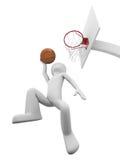 Basketball slamdunk 1. Basketball player flying to the ring with slamdunk 1 Stock Photography