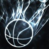 Basketball in the smoke. Burning basket ball in the smoke illustration Stock Photo