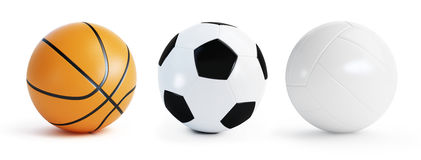 Basketball, soccer and volleyball Stock Photography