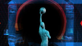 Basketball-Spieler-Biowissenschafts-Technologie-Anzeige vektor abbildung