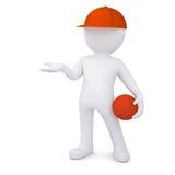 Basketball-Spieler 3d mit dem Ball Lizenzfreie Stockbilder