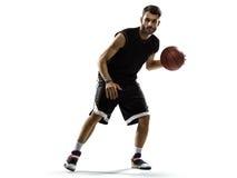 Basketball-Spieler in der Aktion lokalisiert auf Weiß lizenzfreie stockfotografie