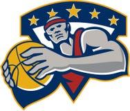 Basketball-Spieler, der Ball-Stern Retro- hält vektor abbildung