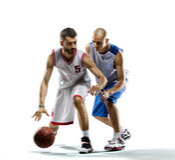 Basketball-Spieler in der Tätigkeit stockfotografie