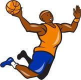 Basketball-Spieler-eintauchende Ball-Karikatur Stockfotos