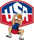 Basketball-Spieler-eintauchende Kugel USA stock abbildung