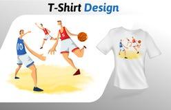 Basketball-Spieler im Spiel, T-Shirt Druck Spott herauf T-Shirt Designschablone Vektorschablone, lokalisiert auf Weiß Lizenzfreie Stockfotografie