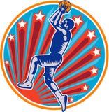 Basketball-Spieler-Jump-Shot-Ball-Kreis-Holzschnitt Retro- lizenzfreie abbildung