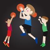Basketball-Spieler-Karikatur-Vektor Lizenzfreie Stockfotos