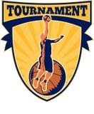 Basketball-Spieler Legen-oben Kugel-Schild Lizenzfreies Stockfoto