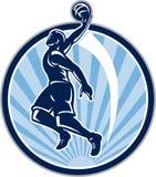 Basketball-Spieler tauchen den Retro- Ball ein stock abbildung