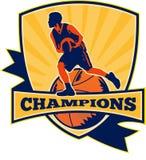 Basketball-Spieler-tröpfelnde Kugel Retro Lizenzfreie Stockfotos
