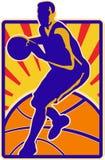 Basketball-Spieler-tröpfelnde Kugel Retro lizenzfreie abbildung