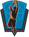 Basketball-Spieler-zurückprallendes Ball-Schild Retro- stock abbildung