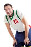 Basketball-Spielerstillstehen stockbild