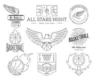 Basketball sport badges black on white Stock Photo