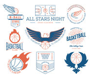 Basketball sport badges colored Royalty Free Stock Photos