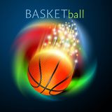 Basketball sport ball flying over rainbow. Basketball ball flying over rainbow background. Bright and shiny vector motion effects royalty free illustration