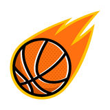 Basketball sport comet fire tail flying logo. Isolated symbol badge label Stock Photography