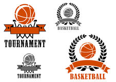 Basketball sport emblems or badges. For tournaments and clubs with various balls, wreaths and banners and text Tournament or Basketball Royalty Free Stock Photos