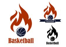 Basketball sport emblems. With basketball ball, ribbon banner, fire and text Basketball, suitable for sporting symbols or logo design Stock Image
