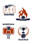 Basketball sport emblems or logos. Basketball sport symbols with basketball balls empty field, basket board fire trophy cup and laurel wreath for sporting design vector illustration