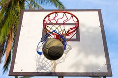 Basketball sport equipment. Ball and basket activity. Summer outdoor sport game. Stock Images