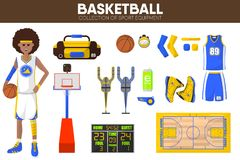 Basketball sport equipment game player garment accessory vector icons set Royalty Free Stock Images