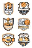 Basketball sport game icons, vector. Basketball game icons with ball and player. Sporting tournament or championship. Vector player and sport game basket and stock illustration