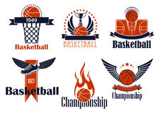 Basketball sport icons with game items Royalty Free Stock Photos