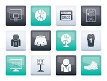 Basketball and sport icons over color background royalty free stock image