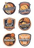 Basketball sport team vector badges. Basketball league, championship or tournament, sport team badges. Vector icons of basketball ball in basket net goal, player stock illustration