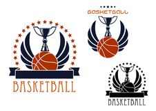 Basketball sporting emblems with game items Royalty Free Stock Photos