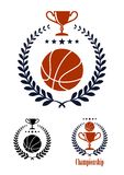 Basketball sporting emblems and symbols. With a ball and trophy cup enclosed in a circular laurel wreath with a line of stars, one with the word Championship stock illustration