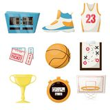 Basketball sports game ball vector illustration basket ball competition equipment. Professional court leisure team activity. Championship. Stopwatch, ticket vector illustration