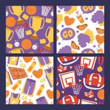 Basketball sportswear and equipment seamless pattern vector illustration. Ball in net hoop, basketball court. Sportsman. Clothes for gym, victory in competition stock illustration