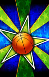 Basketball Star Burst Green. A Star burst With a basketball a that can be used for various backgrounds, sports or team themes, and other things that require a vector illustration