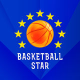 Basketball star logo. Template logo for the basketball team or the tournament as a basketball and stars around it Royalty Free Stock Photo