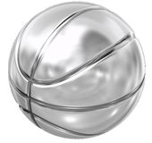 Basketball steel. Steel basketball with white background Royalty Free Stock Photos