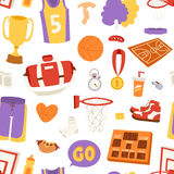 Basketball stickers seamless pattern Royalty Free Stock Image