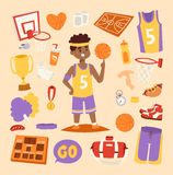Basketball stickers vector icons character Royalty Free Stock Photos