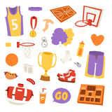 Basketball stickers vector icons vector illustration