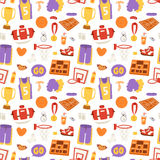 Basketball stickers vector icons seamless pattern Royalty Free Stock Photo
