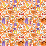 Basketball stickers vector icons seamless pattern Royalty Free Stock Images