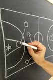 Basketball strategy. Closeup of basketball coach drawing game strategy on black board Stock Photography
