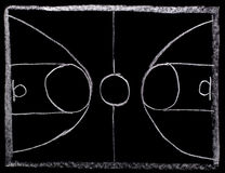 Basketball strategy planning on blackboard Royalty Free Stock Photo