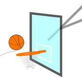 Basketball Swoosh. Basketball flying into basket. Illustration of Backboard net and ball Royalty Free Stock Photo