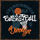 Basketball t-shirt print design for apprel stock illustration