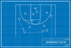 Basketball tactic on blueprint stock illustration